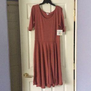 XL LuLaRoe Nicole Heathers Red Dress Solid